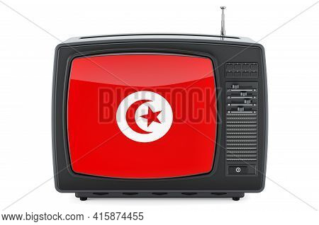 Tunisian Television Concept. Tv Set With Flag Of Tunisia. 3d Rendering Isolated On White Background