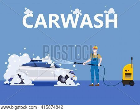 Car Wash Center Station. Auto Service Man Worker Washing, Clean Car, Foam Bubbles. Vector Illustrati