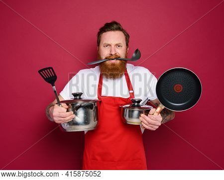 Chef Hold A Lot Of Pots. Concept Of Stress And Confusion. Red Background