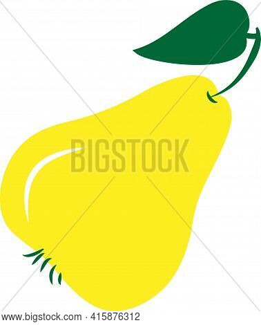 Sweet Yellow Pear N White Background For Decoration Design.