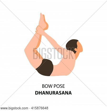 Man Practicing Yoga Pose Isolated Vector Illustration. Man Standing  In Bow Pose Or Dhanurasana Pose