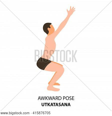 Man Practicing Yoga Isolated Vector Illustration. Man Doing Yoga Pose. Man Standing In Awkward Pose