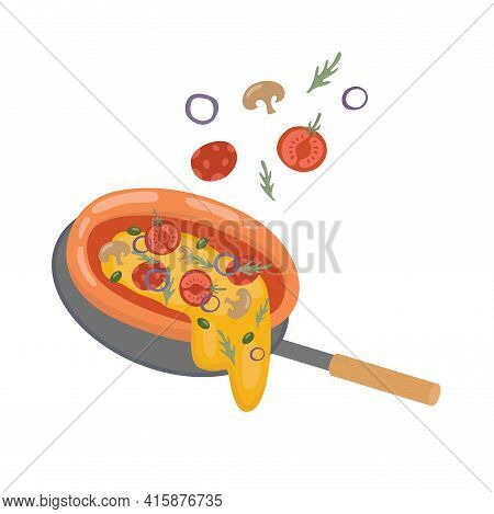 Pizza Illustration For Pizzeria Menu Take Away Box, Delivery And Package. Vector Stock Illustration