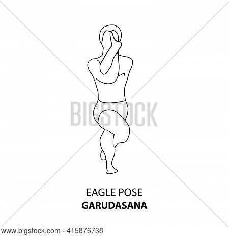 Man Practicing Yoga Line Icon. Man Doing Yoga Pose. Man Standing In Eagle Pose Or Garudasana Pose, O