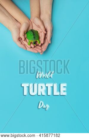 World Turtle Day And Ocean Environmental Day.small Turtle In Arms Of A Mother And Daughter On Blue B
