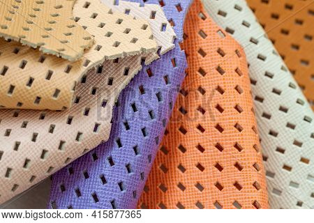 Set Of Colorful Samples Of Fashion Matte Perforated Genuine Leather.