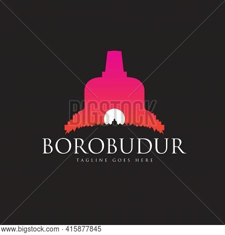 Borobudur The Ancient Buddhist Temple Vector Illustration