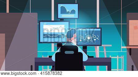 Man Trader Stock Market Broker Analyzing Charts Graphs And Rates On Computer Monitors At Workplace C