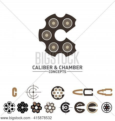 C Letter Caliber And Chamber Concepts  Symbol Set Vector For Military And Armament Industries