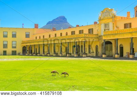 Cape Town, South Africa - January 11, 2014: Green Courtyard Of Castle Of Good Hope Of Cape Town Legi