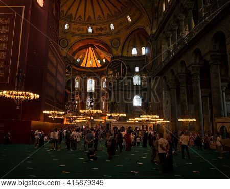 Istanbul, Turkey - 09 06 2020: Tourists And Parishioners Inside Hagia Sophia Holy Grand Mosque. It W