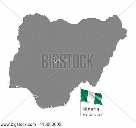 Ilhouette Of Nigeria Country Map. Gray Editable Map With Waving National Flag And Abuja Capital