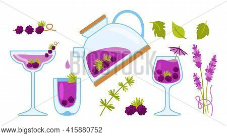 Tea Cartoon Cozy Set, Teapot And Cup, Blackberries And Lavender. Kettle Herbal Tea In Transparent Te