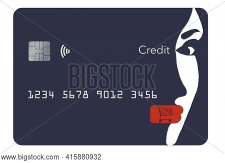 A Beautiful Girl's Face Is Part Of The Design Of A Generic Blue Credit Card In This 3-d Illustration