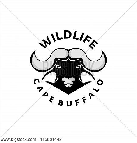 Cape Buffalo Logo Wild Animal Head Vector Emblem Style Graphic Design Template For Nature Or Fauna I