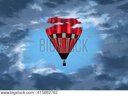 A Hot Air Balloon Rise Up Through An Opening In The Clouds. This Is A 3-d Illustration.
