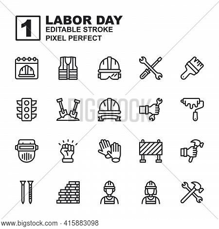 Icon Set Labor Day Made With Black Glyph Technique, Contains A Labor Day, Helmet, Labor Man And Woma