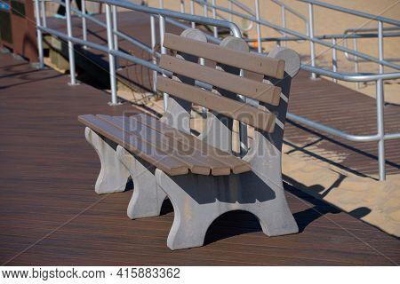 Concrete Bench Near The Ocean Walkway Nature