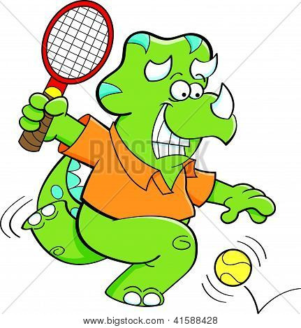 Cartoon illustration of a dinosaur playing tennis. poster