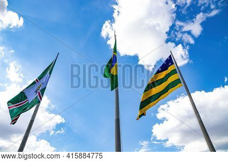 Flags Of The City Of Goiania, State Of Goias And The Federative Republic Of Brazil