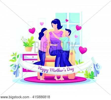Children Celebrate Mother's Day With Their Mother At Home. Happy Mother's Day Greeting Flat Vector I