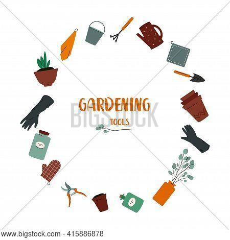 Gardening Tools. Set Of Gardener's Utensils: Watering Can, Glowes, Pots, Soil, Towels, Bucket, Bottl