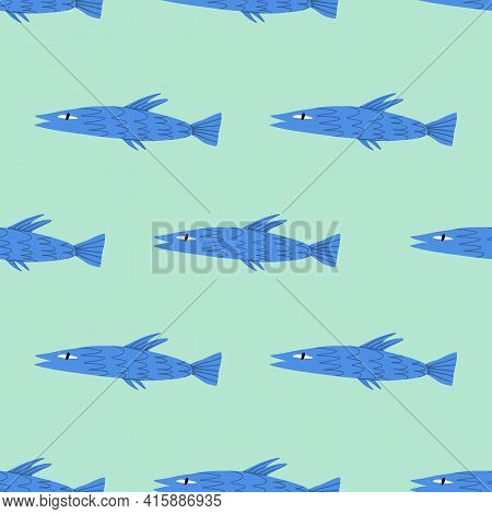 Fish Seamless Pattern. Sea Inhabitant Cartoon Illustration For Textile, Wrapping Paper And Other Pri