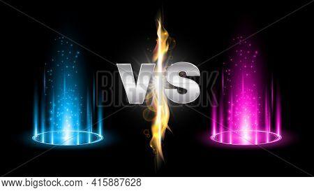 Versus Fire Battle With Hologram Podium, Magic Portal. Mma Concept - Fight Night, Mma, Boxing, Wrest