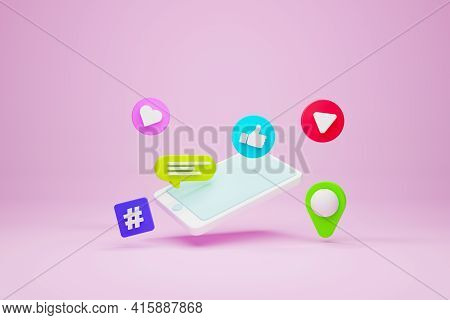 Mobile Smartphone And Icon Speech Bubble, Hashtag, Pin Map, Like And Play Streaming On Pink Backgrou