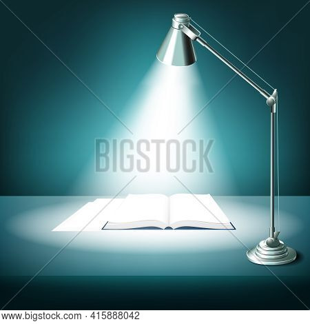 Opened Book On Table With Desk Lamp. Textbook Literature, Study And Light, Illuminated Work Place, V