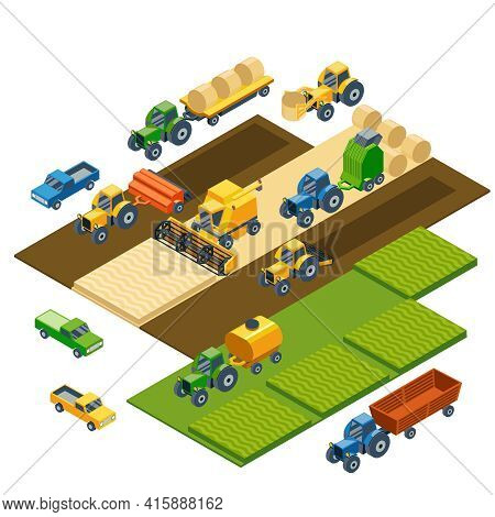 Isometric Agricultural Equipment, Farm Tractors, Combain, Trailers And Pickup. Transportation Pickup