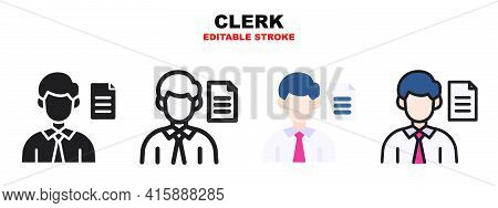 Clerk Icon Set With Different Styles. Icons Designed In Filled, Outline, Flat, Glyph And Line Colore