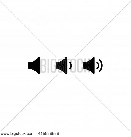 Black Audio Speaker Isolated On White Background. Volume Level, Loud Or Quiet. Flat Simple Vector Il