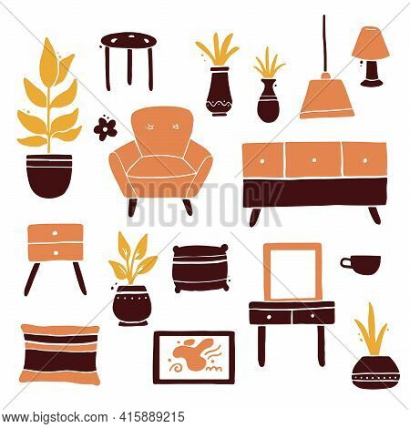 Set Of Living Room Furniture Collection, Sofa, Chair, House Plant, Lamp, Shelf, Carpet. Simple Trend