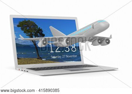 airplane and laptop on white background. Isolated 3D illustration