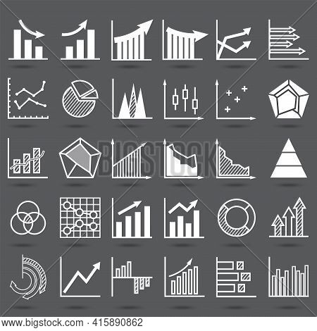 Set Of Business Finance Graph Icon. Silhouette Object  Statistics Finance Presentation. Variety Flat
