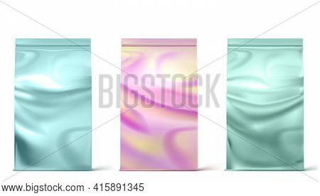 Holographic Package, Doy Packs, Pouch Paper Or Foil Bags Front View. Hologram Sachet With Clip Isola