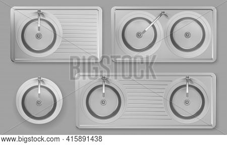Stainless Kitchen Sinks With Taps In Top View. Vector Realistic Set Of Empty Round Steel Wash Bowls