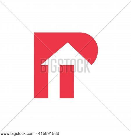 Letter P House Logo Design,  Alphabet P Home Symbol - Vector