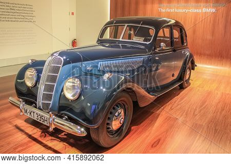 Germany, Munich - April 27, 2011: Bmw 335 In The Exhibition Hall Of The Bmw Museum. The Car Became T