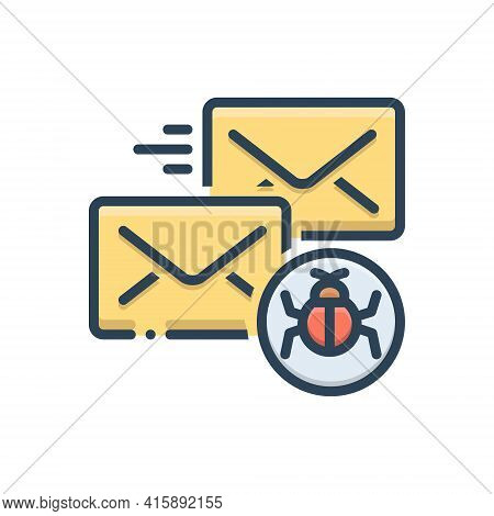 Color Illustration Icon For Infected-mail Infected Mail Malware Protection Vulnerability