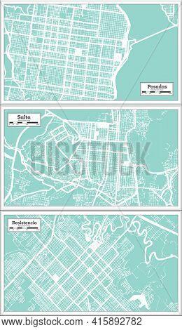 Salta, Resistencia and Posadas Argentina City Map Set in Retro Style. Outline Map.