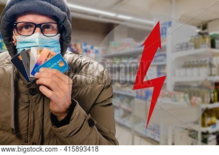 Contactless Payment Method In Supermarket Is Safety During Covid-19 Outbreak. Lightning Arrow As A S