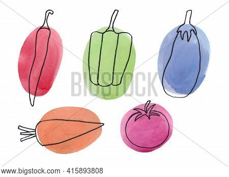 Vegetables Drawn In A Hand-drawn Line On A Background Of A Watercolor Spot. Chili Pepper, Sweet Pepp
