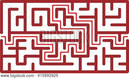 Vector Illustration Of Maze Education Logic Game Labyrinth For Kids. Find Right Way. Isolated Simple