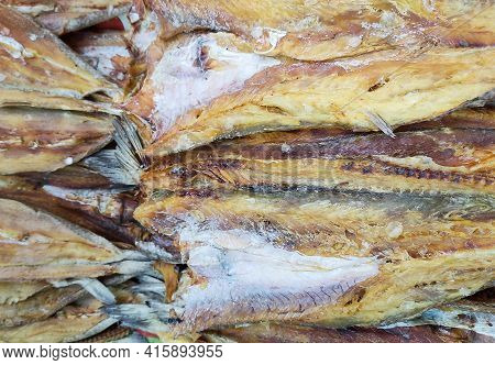 Dried Sliced Fish Close Up View.dried Fish In An Asian Market.