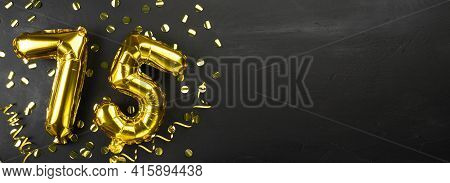 Golden Foil Balloon Number Seventy Five. Birthday Or Anniversary Card With The Inscription 75. Black