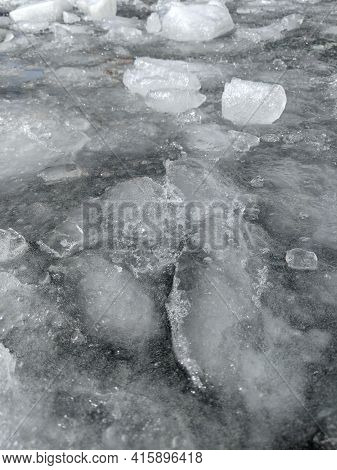 Ice Drift On The River. Ice Texture