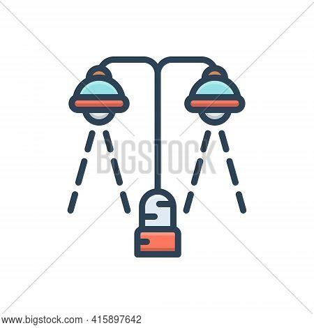 Color Illustration Icon For Lighting Bright Decoration Filament Light Spotlight Street
