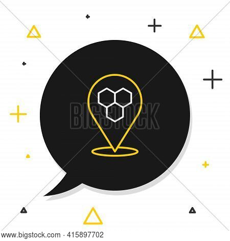 Line Honeycomb Bee Location Map Pin Pointer Icon Isolated On White Background. Farm Animal Map Point